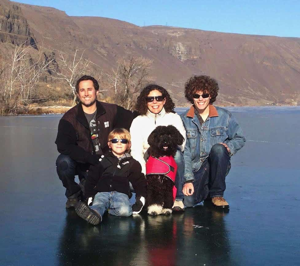 Bryan Roth, his wife Heidi, their sons Dylan and Nicholas, and Alli, their 4-year-old Portuguese Water Dog