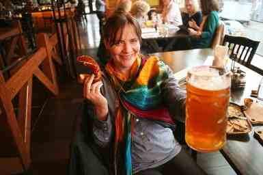 Jessica enjoys a giant German flagon of beer