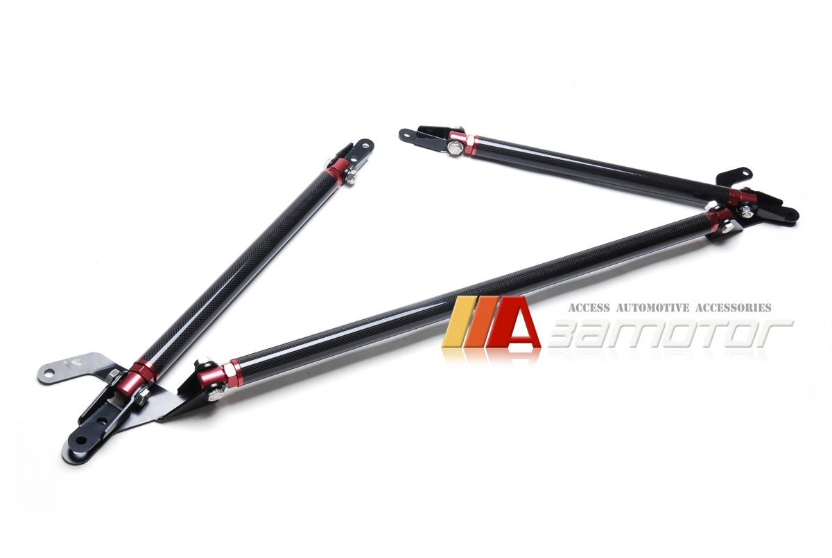 Carbon Fiber Front Strut Tower Brace Bars 3 Pcs Kit For