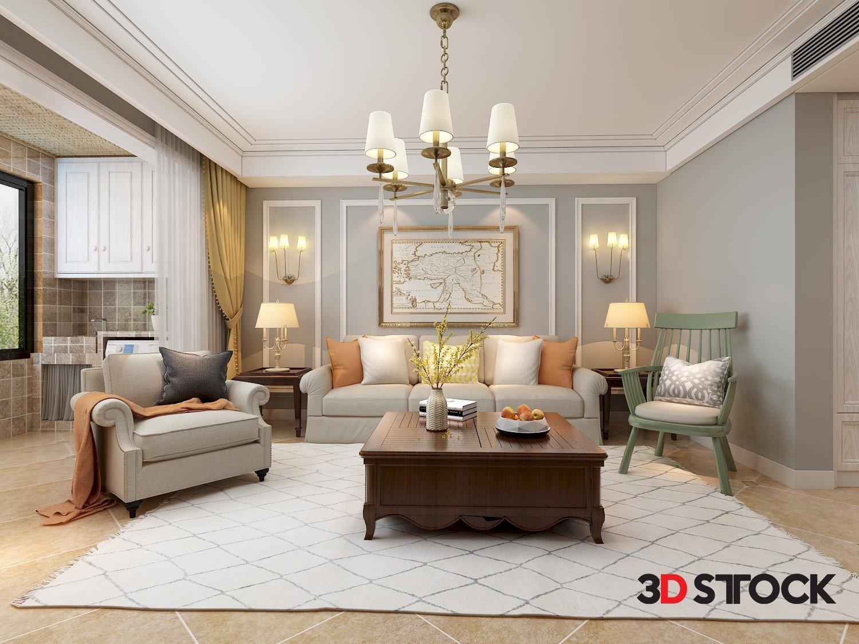 3d Model Of Modern European Style Living Room 3d Stock 3d Models For Professionals
