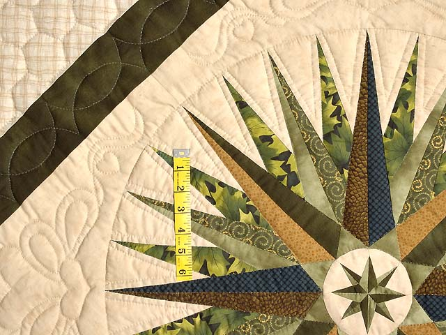 Navy Dark Green Gold and Tan Mariners Compass Quilt Photo 5