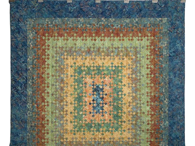 Golden Multicolor Blooming Nine Patch Quilt Photo 2