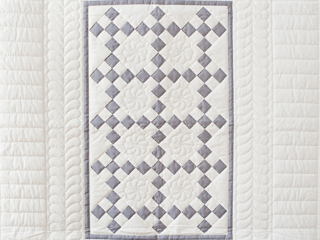 Gray and White Nine Patch Crib Quilt Photo 2