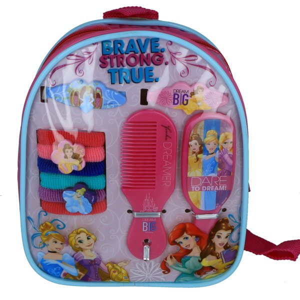 Disney Princess Girls Hair Accessories Backpack With Comb Mirror Ponies