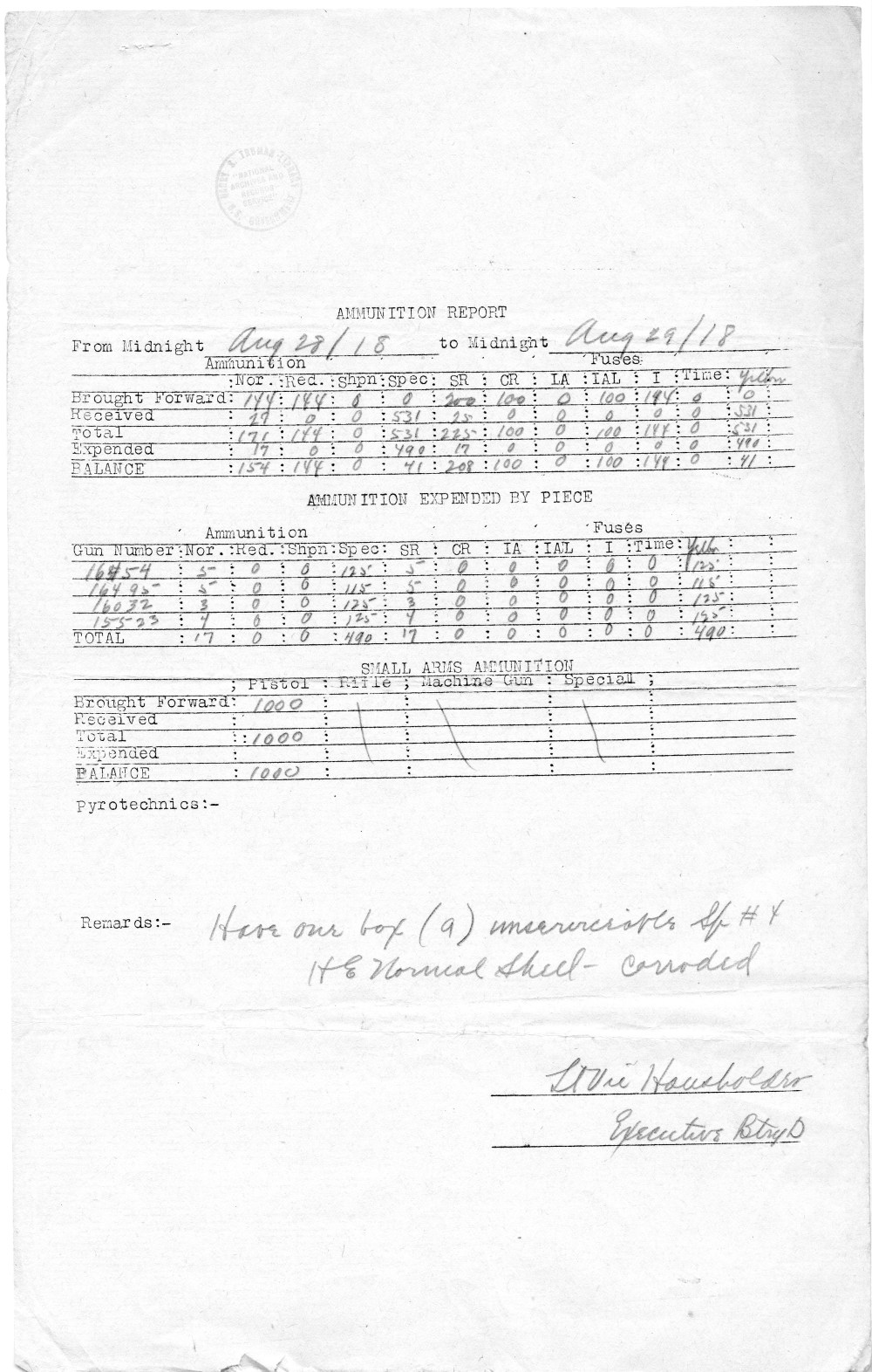 medium resolution of ammunition report battery d 129th field artillery