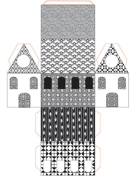 Free Printable Little Paper House : Black and White