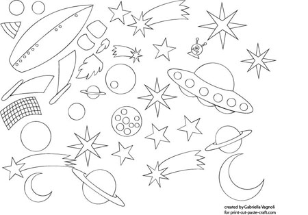 Space Scene Craft: Print, Color, Cut and Paste Project