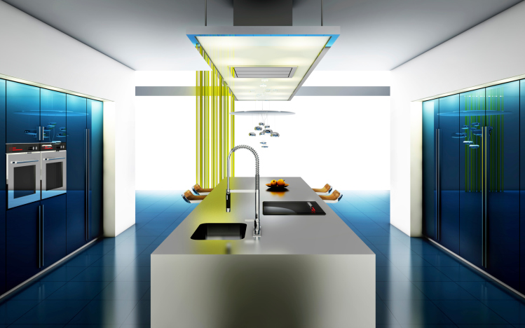 Ultra modern kitchen with blue lighting, large central white island
