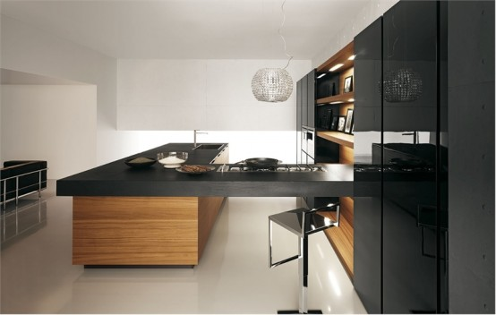 Sleek black and wood kitchen with white floor