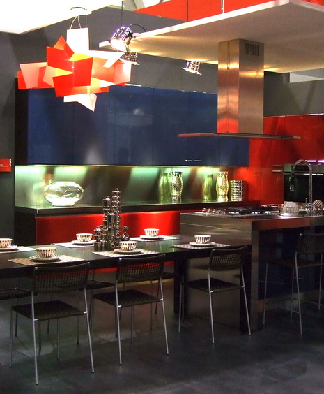 Ultra modern and bright kitchen design with dark blue and red color scheme