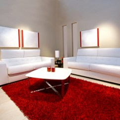 Red Rugs For Living Room Pop Ceiling Designs India 60 Design Ideas All Rooms Photo Gallery Minimalist With Grey Walls 2 White Sofas And Large Rug