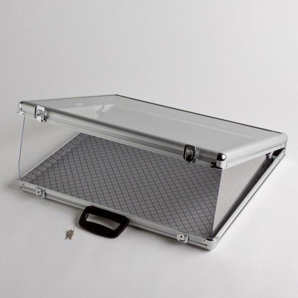 Small Portable Aluminum & Glass Counter Top Locking