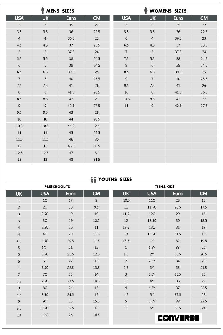 Converse Kids Shoe Size Chart : converse, chart, Devetke, Dinamika, Primijenjen, Converse, Conversion, Tedxdharavi.com
