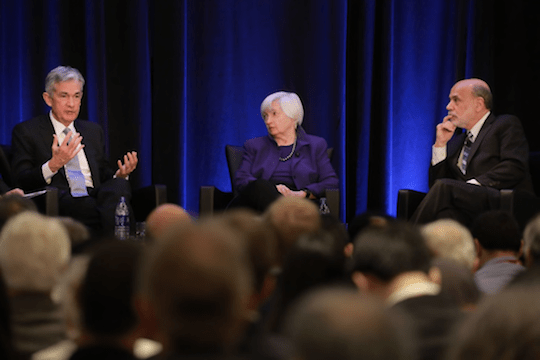 Fed Chairman Jay Powell (left) joined former Fed chairs Janet Yellen and Ben Bernanke