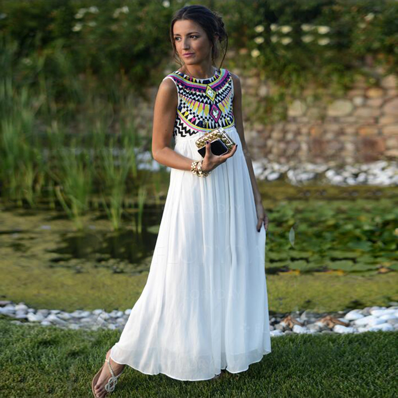 Ukraine Maxi Bohe Dresses Plus Size Long Summer Dress Beachwear Clothes for Women Tunic Embroidery Grid Female Sale