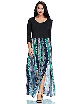 Luvamia Women's Plus Size A Line Scoop Neck 3/4 Sleeve Split Bohemian Floral Maxi Dress