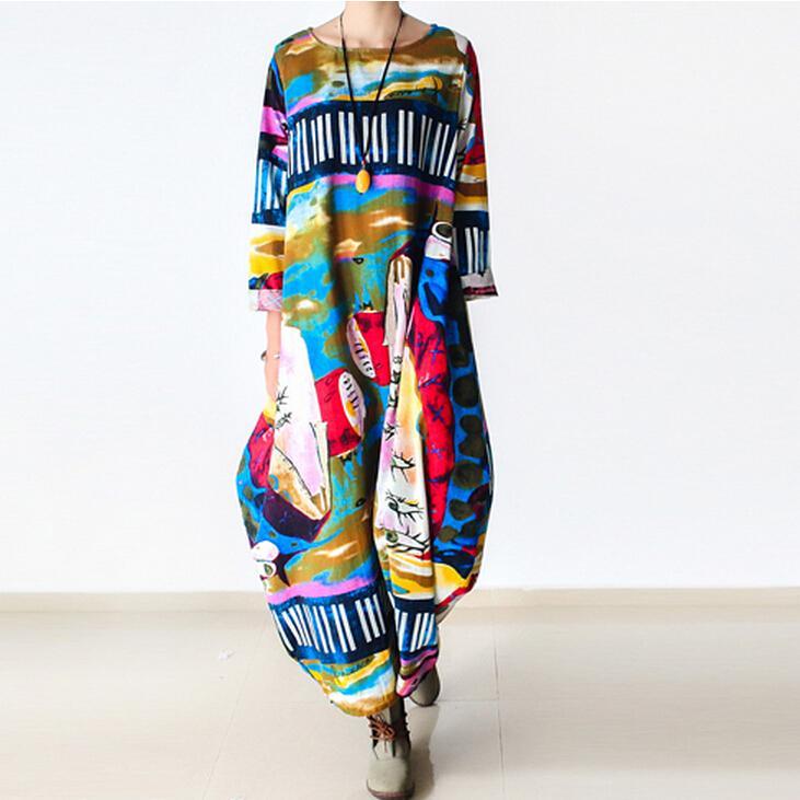 Johnature 2017 New Print Women Maxi Dress Cotton Linen Long Sleeve Robe O-Neck Loose Plus Size Long Autumn Loose Dress