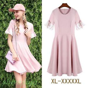 Womens Summer Sweet Bowknot Short Sleeve Round Neck A-Line Slim Skirt Plus Size