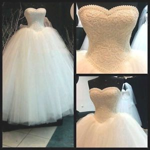 New pearl White/Ivory Lace Bridal Gown Wedding Dress Custom Size 6 8 10 12 14 16