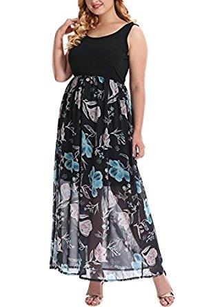 Nemidor Women's Knit Tank Top Empire Floral Print Chiffon Plus Size Casual Maxi Dress