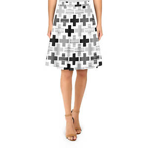 Geometric Plus Monochrome A-Line Skirt Sizes XS-3XL Flared Skirt