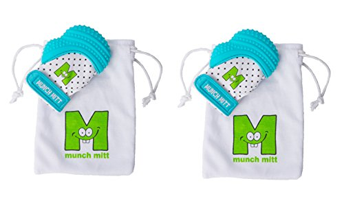 Munch Mitt® Teething Toy Stays on Baby's Hand is Self-Soothing Entertainment and Gives Pain Relief from Teething plus is Ideal Baby Shower Gift that includes Handy Travel/Laundry Bag– Set of 2 Blue