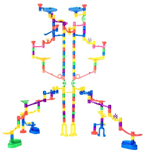 Marble Genius Marble Run Extreme Set – 125 Translucent Marbulous Pieces + 20 Glass Marbles