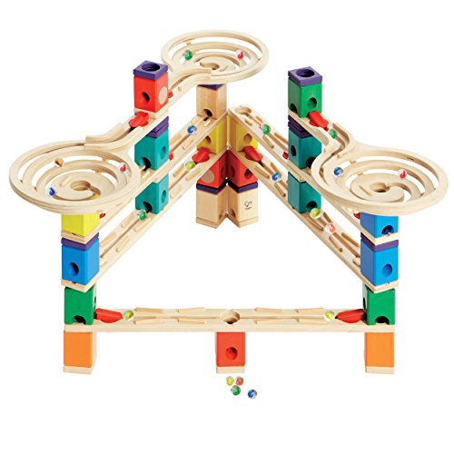 Hape Quadrilla Wooden Marble Run Construction – Vertigo – Quality Time Playing Together Wooden Safe Play – Smart Play for Smart Families