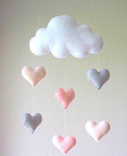 HAN-MM Teepee Decor Baby Developmental Crib Toy Baby Mobile 1st Birthday Decor Nursery Baby Shower Decor White Cloud and Heart