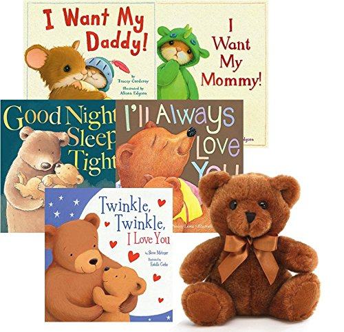 Bedtime Story Books For Toddlers Book and Plush Sets: 5 Story Books For Toddlers with a Brown Bear Plush Toy. Best Children Story Books Present Ideas