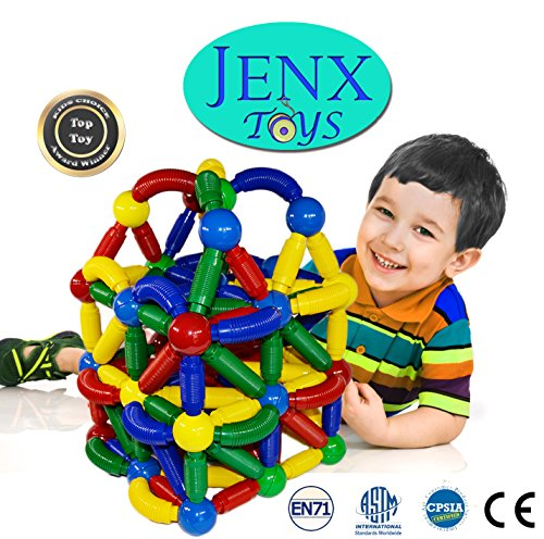 Jenx Toys Jumbo 60 PCS Magnetic Rods and Balls Building Blocks | Construction Stacking Building Set | Award Winning Top Toys