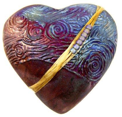 J Davis Studios Raku Starry Night Heart Rattle
