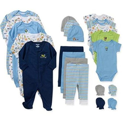 Garanimals Newborn Boy 21-pc Layette Set and 2-pc Baby Wash Cloth Bundle (0-3 Months) by Garanimals