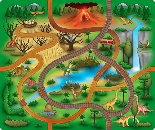 Silli Me Large Dinosaur Rubber Backed Children's Play Mat with Roads and Train Track