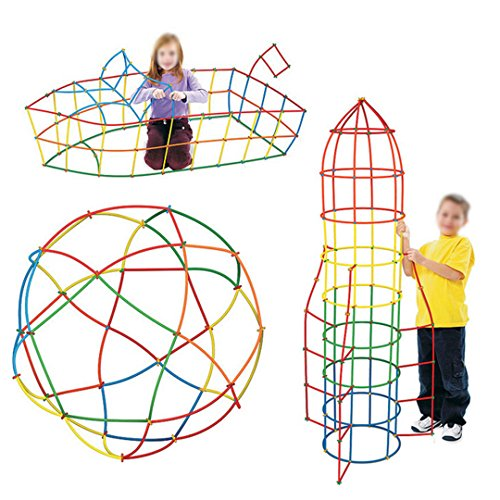 Mily 400 Pcs Educational Building Model Straws and Wheels Connector Set-Fine Motor Skill Toys for Girls & Boys