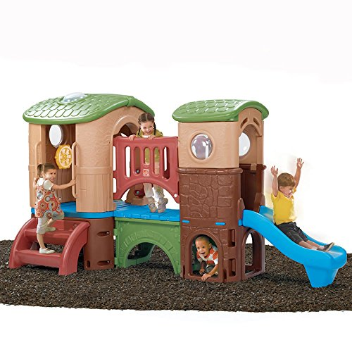 Step2 Clubhouse Climber for Toddlers – Durable Outdoor Kids Two Slides, Crawl Tunnel Activity Toys Playset