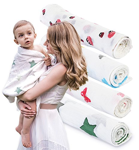 Muslin Swaddle Blankets for Baby – 4 Blanket Set – Unisex Color Pack For Boys and Girls – Newborn, Infant and Toddler- 47×47″ Large Wrap Swaddles – 100% Organic Cotton – Best Baby Shower Gift