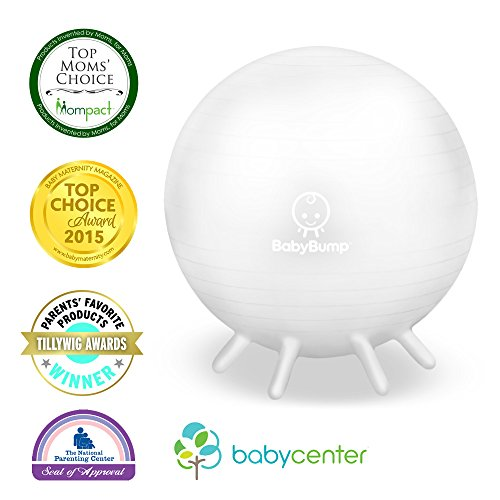 Baby Bump Birth Ball with Base Legs – Stability/Balance/Stand – Anti-burst – Pump – Exercise during Pregnancy – Prenatal Fitness – Induces Labor – Soothes Babies – Yoga Moms – Cute Practical Best Baby Shower Gift – 65 cm – Pearl White