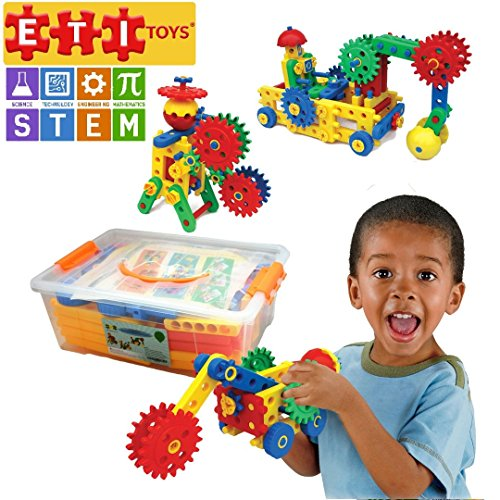 ETI Toys Educational Engineering Building Children's Set – 109-Piece Construction Blocks & Gears Kit, Colourful Oversized Plastic Bricks, Promote Fun Learning & STEM Skills – Ages 4-8