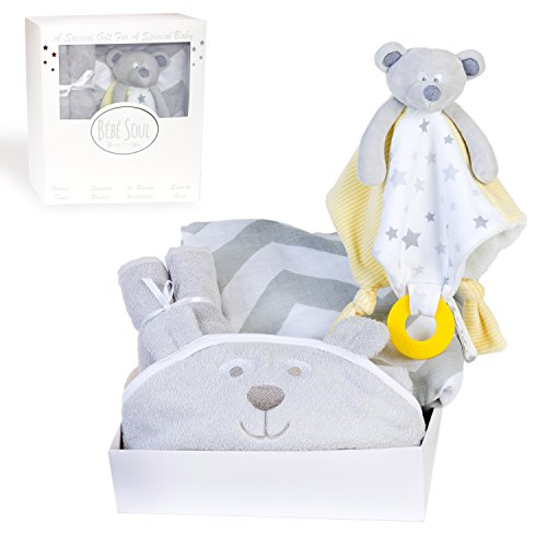 Bébé Soul Unisex New Baby Gift Set : Bear Bamboo Hooded Towel, 4 x Bamboo Washcloths, Bear Security Blanket with Teether, Chevron Muslin Swaddle Blanket – Baby Shower Gifts
