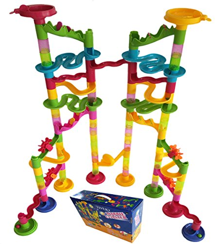Marble Run Coaster 106 BIG Elements Kit 76 Blocks+30 Plastic Marbles. Tracks length 194″ Genius Fun Set. Learning Railway Construction. TEVELO DIY Endless Design Maze, Classic Toy for Family.