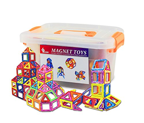 GLOUE 64 PCS Magnetic Building Blocks, Square, Triangle, Large Triangle – Deluxe Building Set