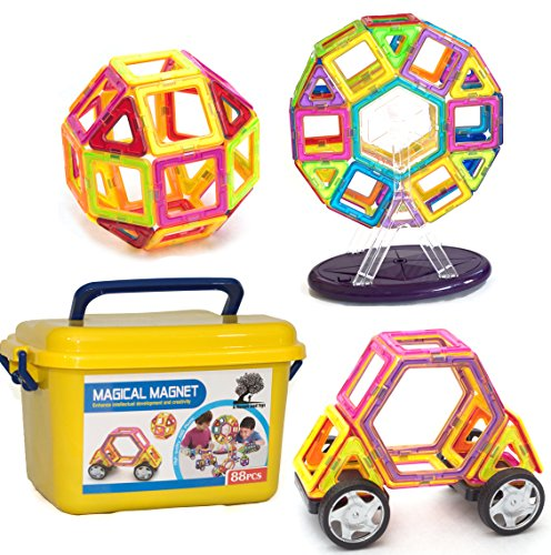 A Mustard Seed Toys Magnetic Tiles – 88 Large Pieces, Full Size, Kids Learn Colors, Shapes, and Patterns, Great Starter Set, Includes Wheels for Building Cars and a Ferris Wheel With Lights and Music