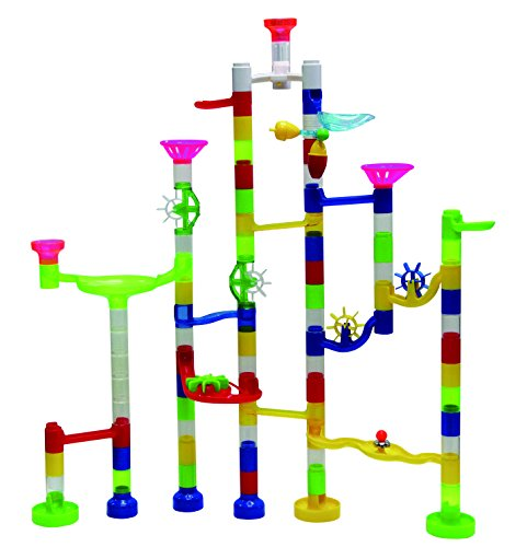 Marbulous Transparent In The Dark Marble Run – 105 Piece Set – 90 Building Pieces + 7 Standard Marbles + 8 Glow Marbles by Edushape