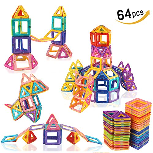 LeNest Magnetic Blocks Building Set, Magnet Tiles Educational Toy Kits for Kids – 64 pcs