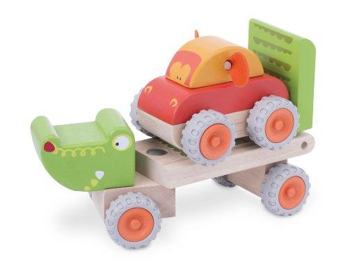 Wonderworld Crocodile Trailer, Toddler Wooden Flatbed Push Pull Truck with Bonus Wood Push Car