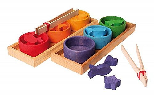 Grimm's Rainbow Bowls Shape & Color Sorting Game/Activity Set with Grabbing Tongs