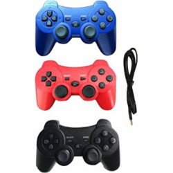 3 PACK – PS3 Wireless Double Vibration Controller Bluetooth Sixaxis Gamepad Remote for Playstation 3 with Charger Cable (Red – Blue – Black)