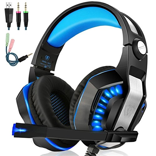 Beexcellent GM-2 Gaming Headset with Mic – Sound Clarity, Noise Reduction Headphones with LED Lights | Soft & Comfy Ear-Pads | Y Splitter for PlayStation 4, Xbox One, PC, Laptops, Smartphones, Blue