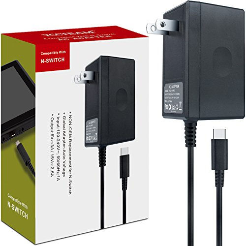 Nintendo Switch AC Adapter – YCCTEAM Nintendo Switch Charger with 5 FT Power Supply Cord and Type C Fast Charging kit – 15V 2.6A AC Adapter for Nintendo Switch Supports TV Mode and Dock Station